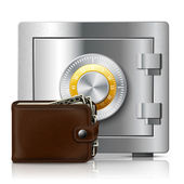Leather wallet and safe with code lock — Stock Vector