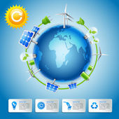 Green energy and power concept — Vector de stock