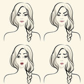 Woman facial emotions set — Stock Vector