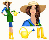 Young woman garden worker — Stock Vector