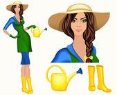 Young woman garden worker — Stock Vector