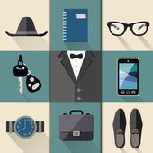 Gentleman business suit set — Stock Vector