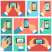Collection of hands using mobile phone — Stock Vector