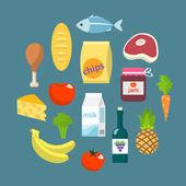 Online supermarket foods flat concept — Stock Vector