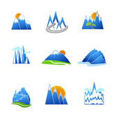 Mountains icons set — Stock Vector