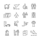 Flat airport icons set — Stock Vector