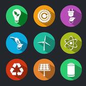 Conjunto de ícones de energia e ecologia plano — Vetor de Stock