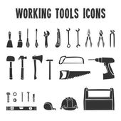 Working tool box icons set — Stock Vector