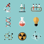 Chemistry Science Flat Icons Set — Stock Vector