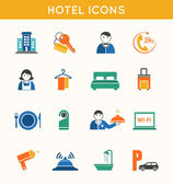 Hotel travel flat icons set — Stock Vector
