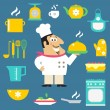 Постер, плакат: Restaurant chef and kitchen items