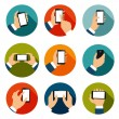 Hands with Phones Icons Set — Stock Vector #43644167