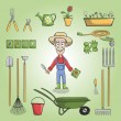 Happy gardener charactor set — Stock Vector #43644245
