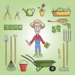 Happy gardener charactor set — Stock Vector