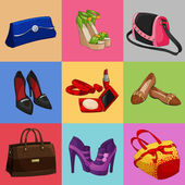 Women bags shoes and accessories collection — Stock Vector