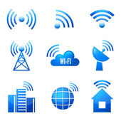 Wi-Fi glossy icons set — Stock Vector