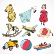 Toys colored sketch icons set — Cтоковый вектор