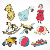 Toys colored sketch icons set — Stock Vector