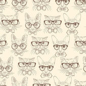 Cat hipsters seamless pattern — Stock Vector