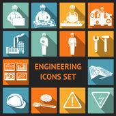 Flat Engineering Icons Set — Stock Vector