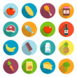 Supermarket Foods Flat Icons Set — Stock Vector