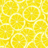Sliced lemon seamless background — Stock Vector
