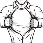 Comic hero opening shirt — Stock Vector