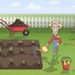 Happy gardener character at work — Stock Vector