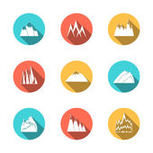 Snowy Mountains Icons Set — Stock Vector