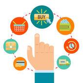 オンライン ショッピングのアイコンと手します。 — ストックベクタ