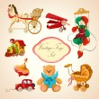Toys colored drawn icons set — Stock Vector #43837423