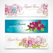 Tropical flower banners — Stock Vector