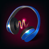 Headphones dark background — ストックベクタ
