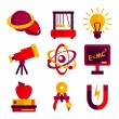 Physics and Astronomy Icons Set — Stock Vector