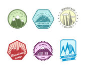 Snowy mountains labels collection — Stock Vector