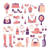 Woman accessories icon set — Stock Vector