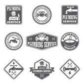 Plumbing service badges — Stock Vector