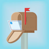 Postal box with letter — Stock Vector
