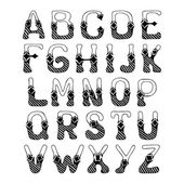 Sketch alphabet font — Stock Vector