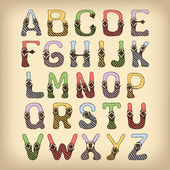 Sketch alphabet font colored — Stock Vector