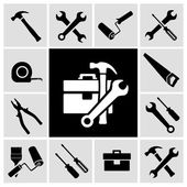 Carpenter tools  black icons set — Stockvektor