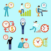 Time management flat icons — Stockvector