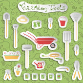 Garden tools stickers set — Stock Vector