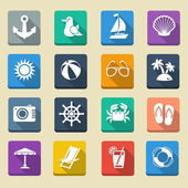 Summer Sea Vacation Icons — Stock Vector