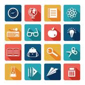 Education Icons Flat Set — Stock Vector