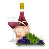 Wine jar and grape bunch print — Stock Vector