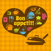 Cooking bon appetit poster — Stock Vector