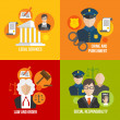 Law flat icons — Stock Vector