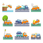 Car crash icons — Stock Vector