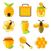 Honey icons set — Stock Vector